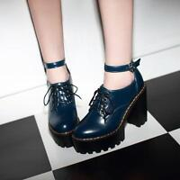 Womens Punk Lace Up Buckle Knight High Chunky Blcok Heels Ankle Strap  Boots