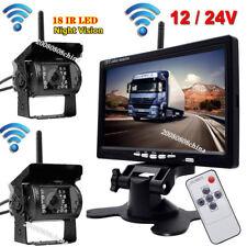 "12V-24V Wireless 7"" HD TFT LCD Car Rear View Monitor +2x Bus Truck Backup Camera"