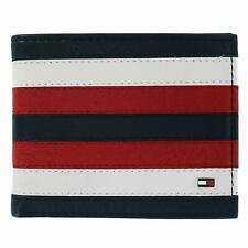 Tommy Hilfiger Men's Leather Red White Blue Credit Card Passcase Bifold Wallet