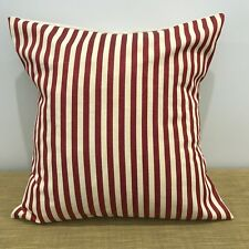 "18"" (45cm) RED/CREAM STRIPE SHABBY CHIC Cushion Cover. Made Australia"