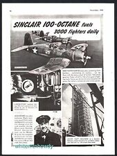 1943 WWII Vought CORSAIR F4U Plane WWII WW2 Sinclair Aviation Gasoline AD