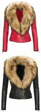 Women's 100 % Lamb Leather Biker Jacket with Real Raccoon Fur  !