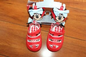 NWT GIRLS DISNEY SZ 0-6 MONTHS RED SHOES MINNIE MOUSE