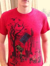 SKULL BOARDS Designer Red Cotton Blend Size L T-Shirt