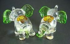 2 Tiny Glass ELEPHANTS Glass Animals, Orange, Green & Clear Glass Ornaments Gift