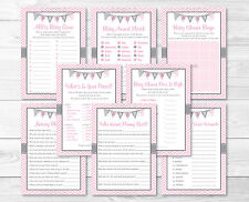 Modern Pink Chevron Baby Shower Games Pack - 8 Printable Games