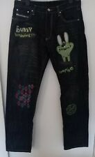 Mens Diesel Brave Grafitti Cartoon Bunny Design Blue Denim Jeans Waist 34