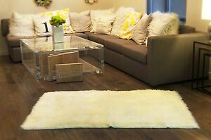 Faux fur area rug Shaggy rectangle shape Sheepskin Bedroom living room OFF WHITE