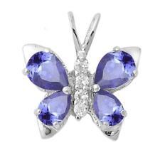Tanzanite & Cz Butterfly .925 Sterling Silver Pendant