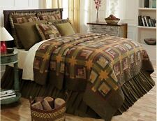 TEA CABIN ** King ** QUILT : PRIMITIVE GREEN RED STAR AMERICAN RUSTIC