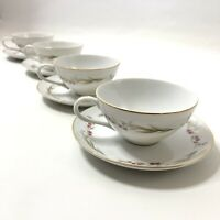Set Of 4 Prestige Fine China Tea Cups And Saucers Pink Flowers Gold Trim