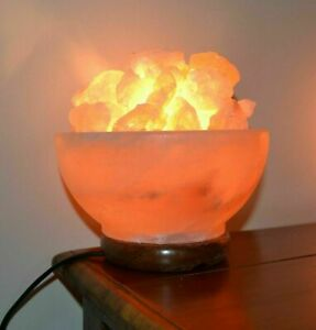 Himalayan USB Salt Bowl Lamp Crystal Pink Rock Healing Best Christmas Gift
