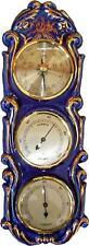 373607B Porzellan Barometer-Hygrometer-Thermometerkobalt  handbemalte Rosen Gold