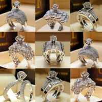New Women White Sapphire Silver Ring Set Engagement Wedding Jewelry Gifts Sz6-10