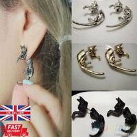 2x Funky leopard Tiger Lion Stud Earring Punk Gothic Emo Halloween 1 PAIR