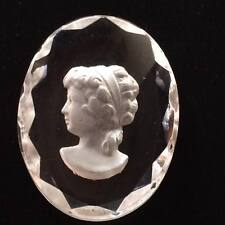 Vintage crystal cameo glass cabochon
