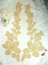 """Lace Appliques Gold Floral Embroidered Mirror Pair Costume Motifs 15""""  DH85"""
