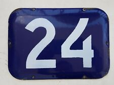 BIG vintage ISRAELI enamel porcelain number 24 house sign # 24