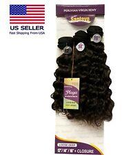 8A Peruvian Loose Deep Virgin Human Hair 3 Bundles+Closure 1pk Solution