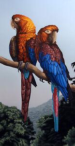 DALLAS JOHN Cuban Macaws Signed Fine Art Serigraph Artwork Submit Offer