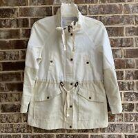 Ann Taylor LOFT Womens Parka Jacket Linen Blend Color Block Lined Size S