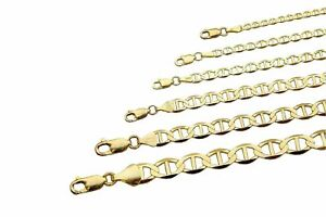 "10k Solid Yellow Gold Mariner Link Chain Necklace 2mm-6mm Men's Women Sz 16""-30"""