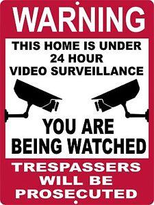 9x12 Aluminum Warning Security Home 24 Hour Video Surveillance Sign NO TRESPASS