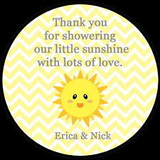 """20 Personalized Round Stickers - You are My Sunshine Baby Shower  - 2"""" Inches"""
