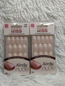 Lot 2 X Kiss Revolutionary NATURAL Nails Salon Acrylic French NUDE Medium Length