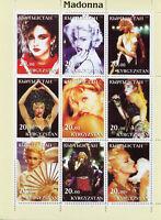 Kyrgyzstan 2003 MNH Madonna 9v M/S Popstars Music Celebrities Stamps