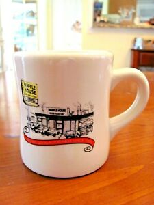 2012 'WAFFLE HOUSE' RESTAURANT WARE THICK HEAVY WHITE PICTURE COFFEE MUG EXC