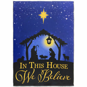In This House We Believe in Jesus Flag 12x18in Cute Novelty Yard Flag Christian