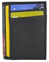 RFID Blocking Mini Wallet Genuine Leather Slim Front Pocket Wallet CC Holder