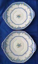 2 x Vintage 1930s Royal Doulton Deco Arvon Blue serving plate, 25 x 22.5 cm