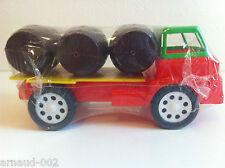 Ancien jouet en plastique - Camion transport de tonneaux Vintage 20 Cm
