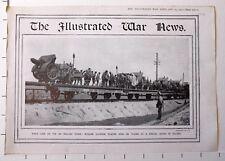 1915 WWI WW1 PRINT ~ RUSSIAN SOLDIERS PLACING GUNS ON RAIL TRUCKS POLAND