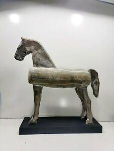"Global Views Rustic Large 28"" Primitive Wood Folk Art Style Horse Sculpture"