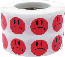 Red Sad Frowny Face Adhesive Stickers, 1/2 Inch Round, 1000 Labels