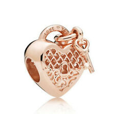 1pcs Rose Gold Heart Lock-Key Charm Bead Fit 925 Bracelet Necklace