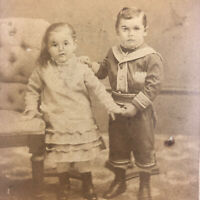 Cute Baby Boy Girl Child Portrait Photo Antique Victorian Chair UNIFORM CDV Fat