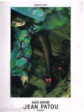 Publicité Advertising 1986 Haute Couture Jean Patou par Sarah Moon (recto verso)