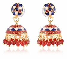 Indian Women Gold Plated Traditional Meenakari Jhumka Earrings Fashion Jewelry