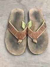Clarks Brown Leather Casual Slide Flip Flop Comfort Sandals Shoes Men's Sz 9 #O