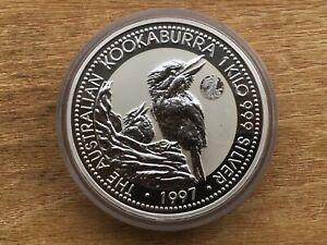 Australia 1997 Silver $30 1 kilo KooKaburra Walking Liberty Half Privy Mark