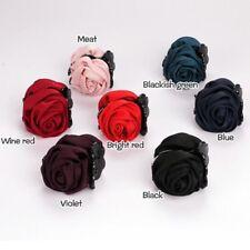 Korean Women Elegant Chiffon Rose Flower Bow Jaw Clip Barrette Hair Claw Hot Black