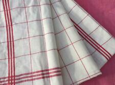 UNUSED HUGE VINTAGE FRENCH PURE LINEN TORCHON TEA TOWEL RED STRIPE EXC
