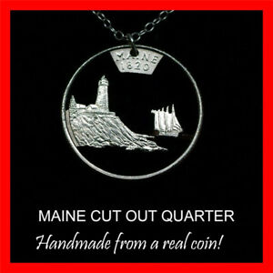 Maine Lighthouse 25¢ ME Quarter Cut Coin Necklace Pine Tree State Pemaquid Point