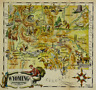 Wyoming Antique Vintage Pictorial Map  (Postcard size)