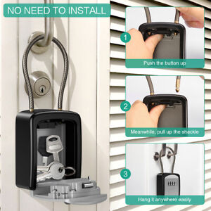 Outdoor Padlock Wall Mounted 4-Digit Combination Key Lock Storage Security Box @