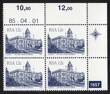 South Africa: South African Architecture; unmounted mint block of 4; 12c